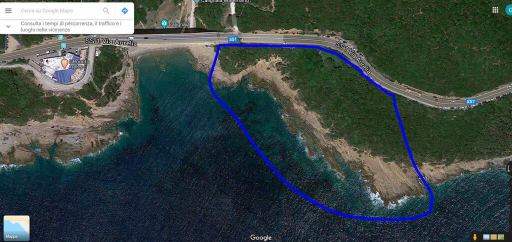 Mappa Spiaggia naturista Punta Combara